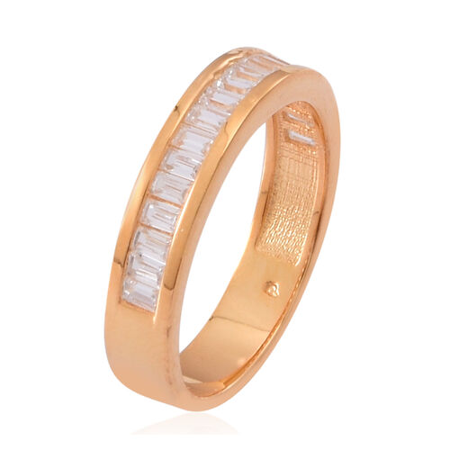 ELANZA AAA Simulated White Diamond (Bgt) Half Eternity Band Ring in 14K Gold Overlay Sterling Silver