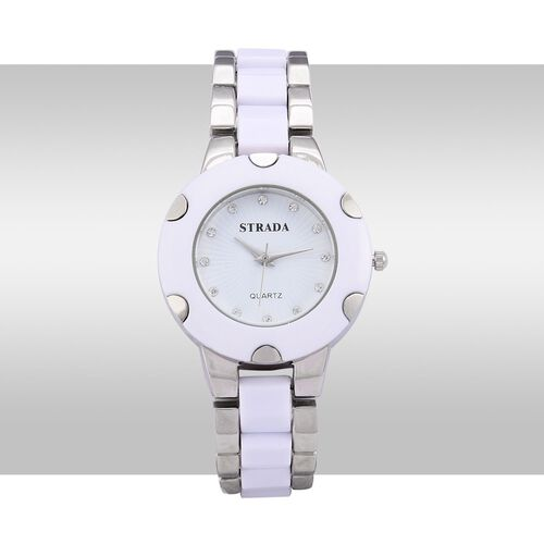STRADA Japanese Movement White Austrian Crystal Studded White Dial Water Resistant Watch in Silver Tone with Stainless Steel Back and White Strap