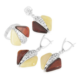 Baltic Multi Colour Amber Ring, Pendant and Earrings (with Clasp) in Sterling Silver