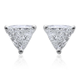 14K White Gold 0.45 Carat Diamond Trillion Solitaire Stud Earrings IGI Certified I1-I2/ G-H with Screw Back.