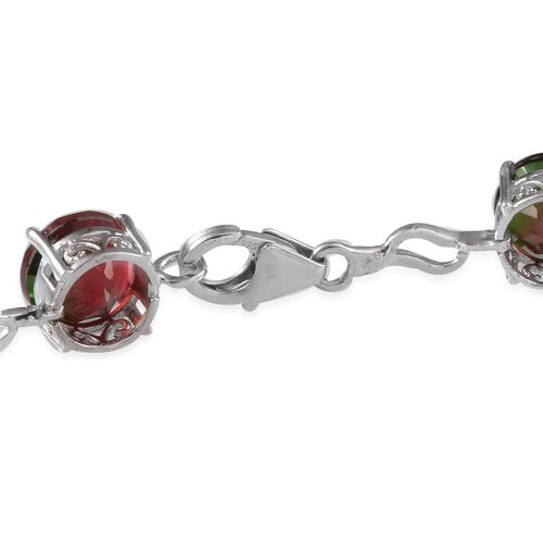 Tourmaline Colour Quartz (Rnd) Bracelet in Platinum Overlay Sterling Silver (Size 8.5) 22.000 Ct.
