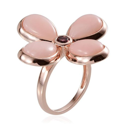 Peruvian Pink Opal (Pear), Rhodolite Garnet Lily Floral Ring in Rose Gold Overlay Sterling Silver 9.500 Ct.