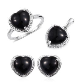 Black Onyx (Hrt) Solitaire Ring, Pendant and Stud Earrings (with Push Back) in Platinum Overlay Sterling Silver 11.000 Ct.