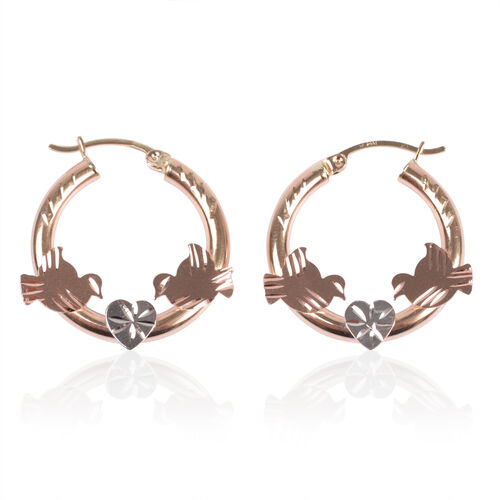 Close Out Deal 14K Yellow, White and Rose Gold Diamond Cut Hoop Earrings (with Clasp), Gold wt 3.12 Gms.