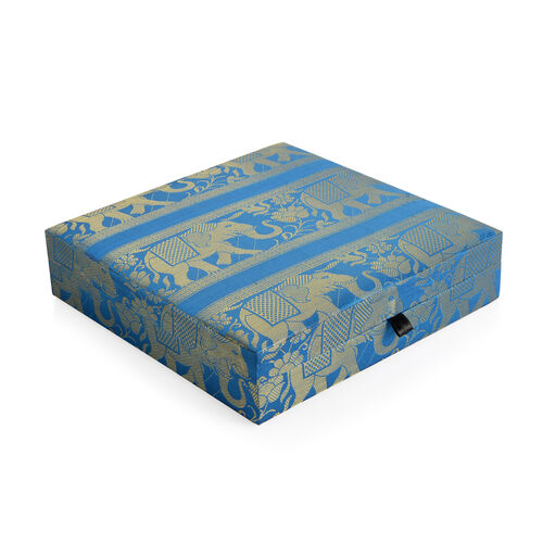 Hand Crafted Eco Friendly - Jacquard Elephant Weave Zari Art Work Royal Blue Colour 100 Slot Ring Box (Size 25.5x25.5x6.5 Cm)