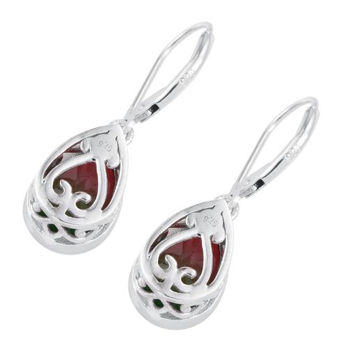 Bi-Color Tourmaline Quartz (Pear) Lever Back Earrings in Platinum Overlay Sterling Silver 7.000 Ct.