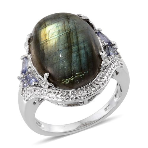 Labradorite (Ovl 20.00 Ct), Tanzanite Ring in Platinum Overlay Sterling Silver 20.500 Ct.