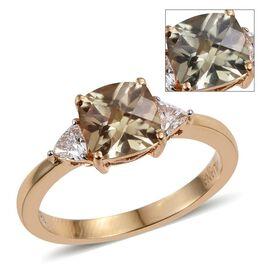 ILIANA 18K Y Gold Natural Turkizite (Cush 1.55 Ct), Diamond Ring 1.750 Ct.