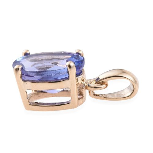 14K Yellow Gold 1 Carat Tanzanite Oval Solitaire Pendant.