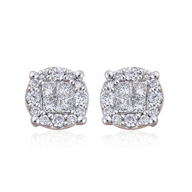 ILIANA 18K Y Gold IGI Certified Diamond (Sqr) (SI/ G-H) Stud Earrings (with Screw Back) 1.000 Ct.