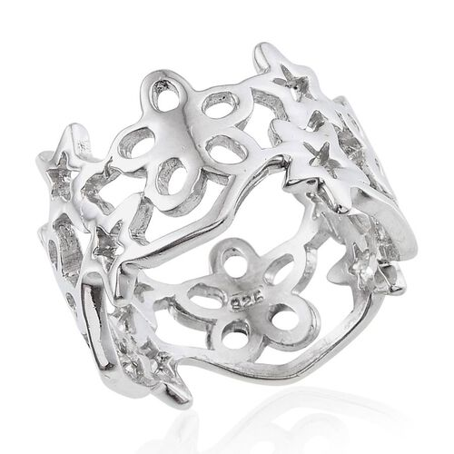 Platinum Overlay Sterling Silver Star and Floral Band Ring, Silver wt 5.99 Gms.