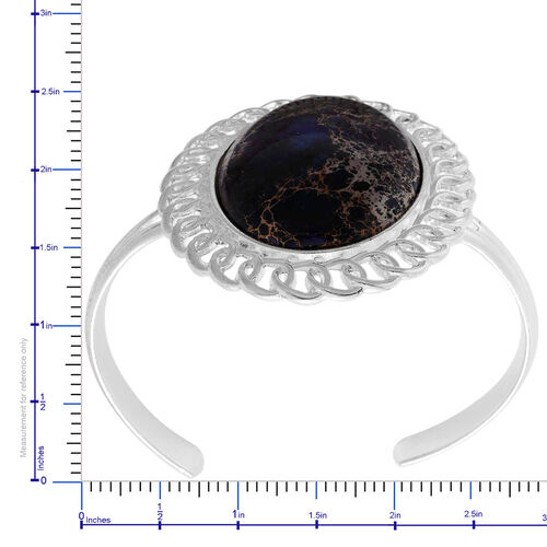 Purple Jasper Bangle in Silver Tone (Size 7.5) 40.000 Ct.