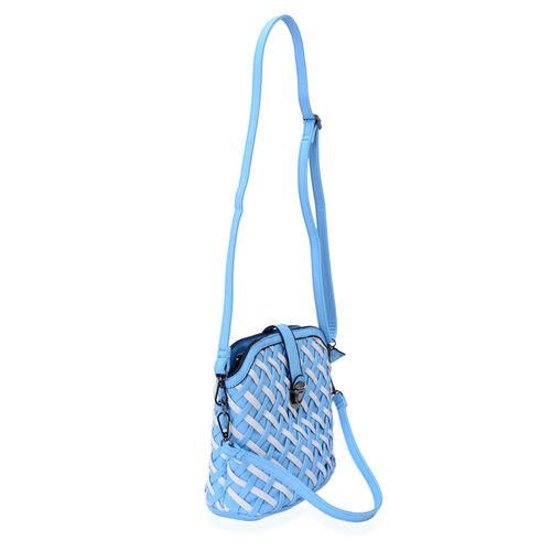 Blue and White Colour Weave Pattern Handbag with Adjustable and Removable Shoulder Strap (Size 23x20x10 Cm)
