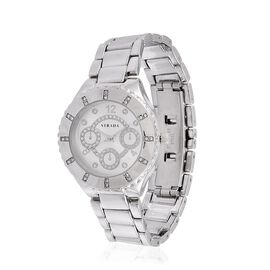 STRADA Japanese Movement White Austrian Crystal Studded Stardust White Colour Dial water Resistant Watch in Silver Tone with Stainless Steel Back and Chain Strap