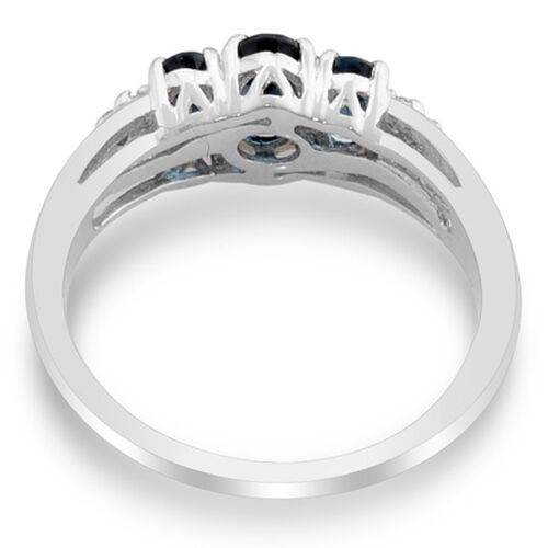 Platinum Overlay Sterling Silver Monte Belo Indicolite and Diamond Ring   0.785  Ct.