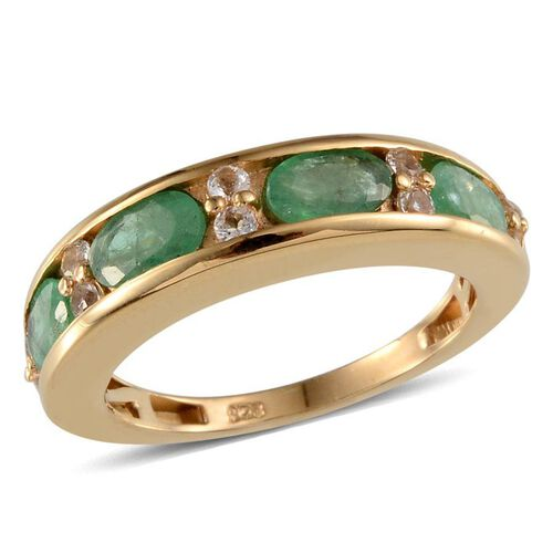 Kagem Zambian Emerald (Ovl), White Topaz Ring in 14K Gold Overlay Sterling Silver 2.150 Ct.