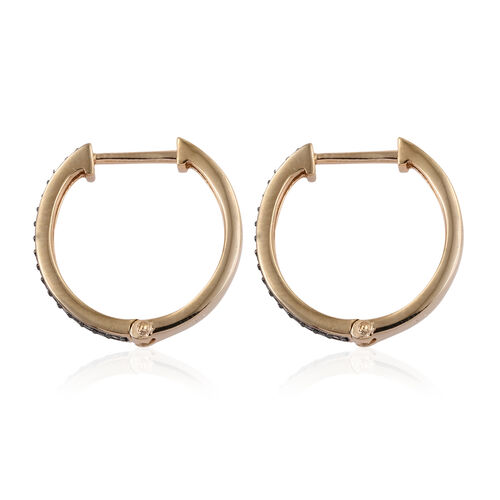 Natural Champagne Diamond (Rnd) Hoop Earrings (with Clasp) in 14K Gold Overlay Sterling Silver 0.100 Ct.