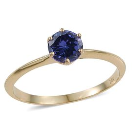 14K Yellow Gold 1 Carat Tanzanite Round Solitaire Ring in 6 Prongs.