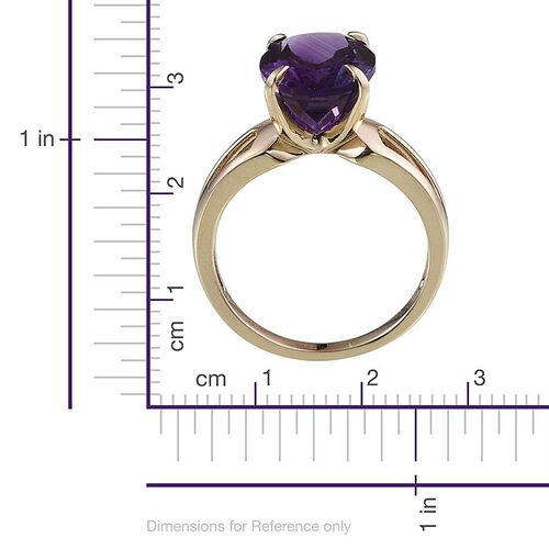 9K Y Gold AAA Uruguay Amethyst (Ovl) Solitaire Ring 5.000 Ct.