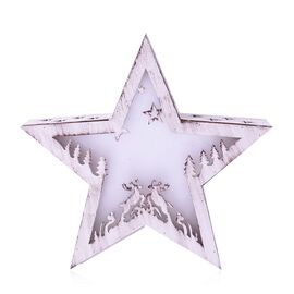 Xmas Decor - Star Shape Vintage Effect Christmas Scene in Star LED Light Box (Size 22.5x21x5 Cm)