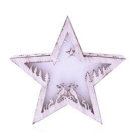 Xmas Decor - Star Shape Vintage Effect Christmas Scene in Star LED Light Box (Size 22.5x21x5 Cm)