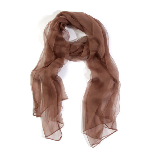 100% Mulberry Silk Brownie Colour Scarf (Size 170X70 Cm)