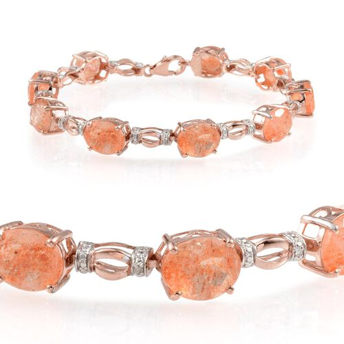 Tanzanian Sun Stone (Ovl), Diamond Bracelet in Rose Gold Overlay Sterling Silver (Size 7.5) 20.800 Ct.