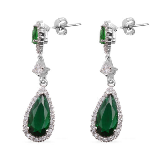 AAA Simulated Emerald (Pear), Simulated Diamond Drop Earrings (with Push Back) in Silver Bond