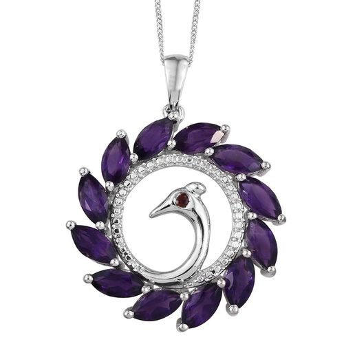 Amethyst (Mrq), Mozambique Garnet Peacock Pendant With Chain in Platinum Overlay Sterling Silver 6.500 Ct.