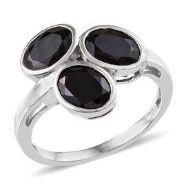 Boi Ploi Black Spinel (Ovl) Trilogy Ring in Platinum Overlay Sterling Silver 4.750 Ct.