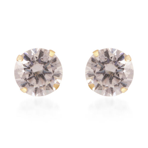 Close Out Deal 9K Y Gold AAA Simulated Diamond Stud Earrings (with Push Back)