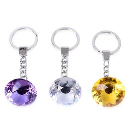 (Option 2) Set of 3 - Simulated Amethyst, Simulated Aquamarine and Simulated White Diamond Key Chain in Silver Tone