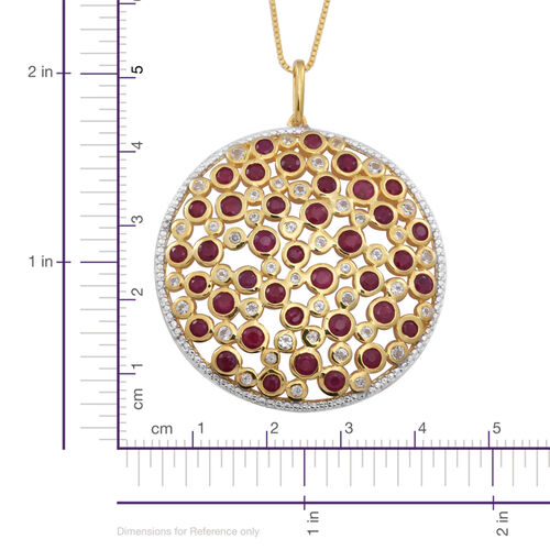 Burmese Ruby (Rnd), White Topaz Pendant With Box Chain (Size 24) in 14K Gold Overlay Sterling Silver 7.020 Ct.