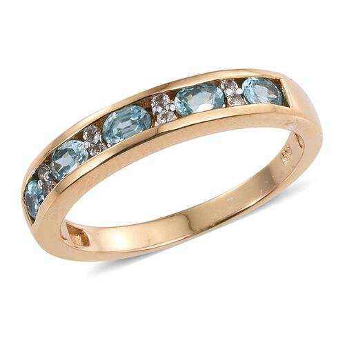 AA Natural Cambodian Blue Zircon (Ovl), White Topaz Half Eternity Band Ring in 14K Gold Overlay Sterling Silver 1.650 Ct.