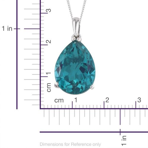 Capri Blue Quartz (Pear) Solitaire Pendant With Chain in Platinum Overlay Sterling Silver 8.500 Ct.