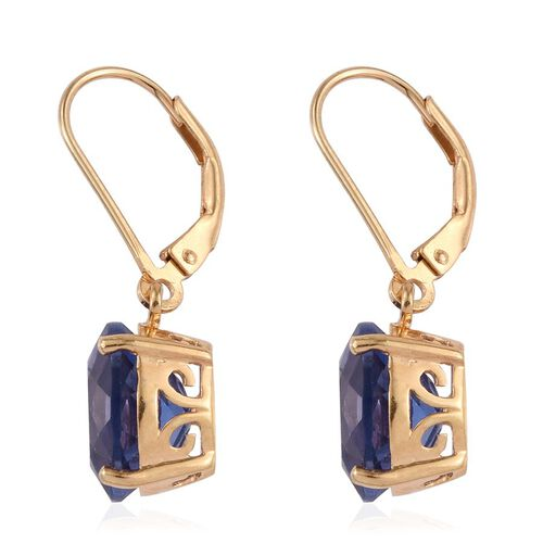 Colour Change Fluorite (Ovl) Earrings in 14K Gold Overlay Sterling Silver 8.250 Ct.