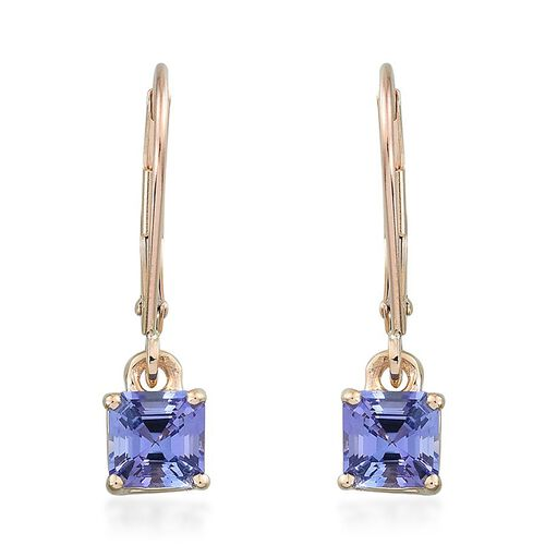 9K Y Gold Tanzanite (Asscher Cut) Lever Back Earrings 1.350 Ct.