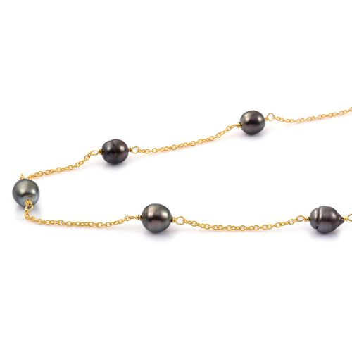 Tahitian Pearl (9.5-10mm) Station Beads Necklace (Size 18 with 2 inch Extender) in Yellow Gold Overlay Sterling Silver