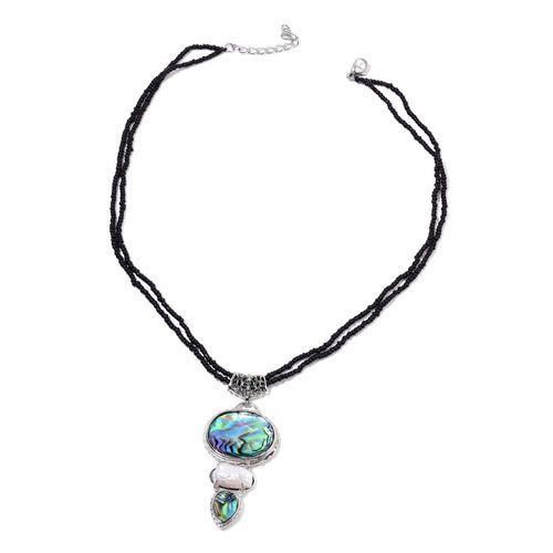 Abalone Shell, White Keshi Pearl and Simulated Black Spinel Pendant With Chain in Silver Tone with Stainless Steel 54.300 Ct.