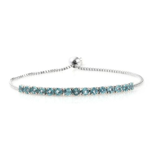 Paraiba Apatite (Rnd) Adjustable Bracelet (Size 6.5 to 8) in Platinum Overlay Sterling Silver 2.750 Ct.