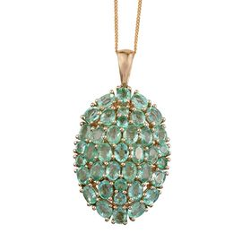 9K Y Gold Boyaca Colombian Emerald (Ovl) Cluster Pendant With Chain 5.500 Ct.