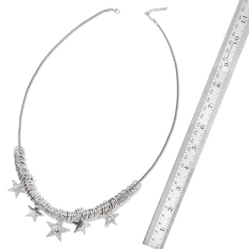 Simulated White Diamond and White Austrian Crystal Multi Star Necklace (Size 20 with 2 inch Extender) in Silver Tone