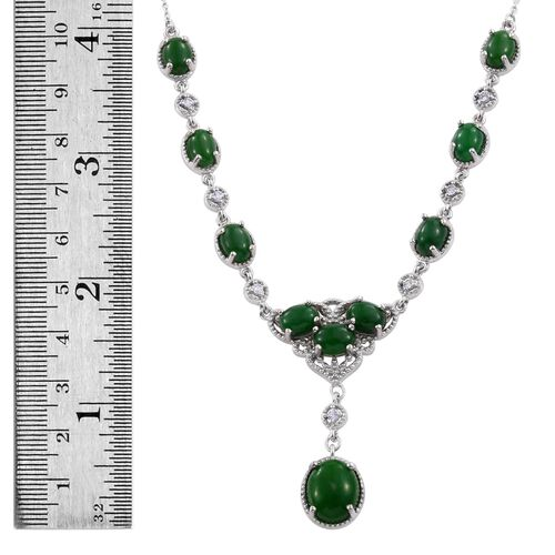 Green Jade (Ovl 6.25 Ct), Natural Cambodian Zircon Necklace (Size 18) in Platinum Overlay Sterling Silver 20.000 Ct.