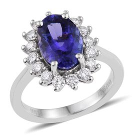 RHAPSODY 950 Platinum AAAA Tanzanite Oval, Diamond VS E-F Ring 4.25 Carat.