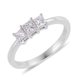 ILIANA 18K W Gold IGI Certified Diamond (Sqr) (SI/ G-H) 3 Stone Ring 0.500 Ct.