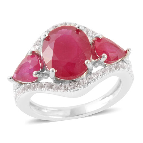 African Ruby (Ovl 5.00 Ct), White Topaz Ring in Rhodium Plated Sterling Silver 8.000 Ct.