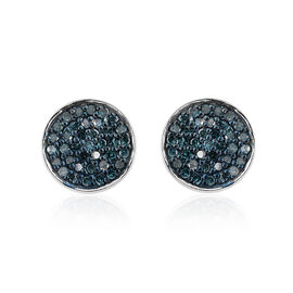 0.33 Carat Blue Diamond Stud Earrings (with Push Back) in Platinum Overlay Sterling Silver
