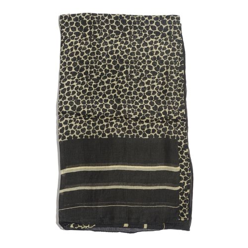 100% Mulberry Silk Black Colour Leopard Pattern White Colour Scarf (Size 180x100 Cm)