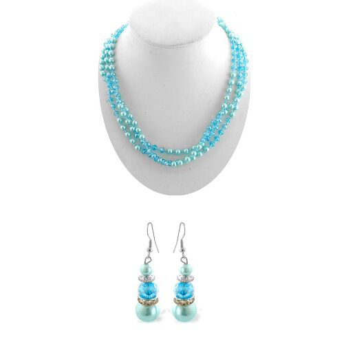 Blue Glass,White Glass Stainless Steel 2 Pcs Earring and Necklace (Size 22.00) Set  0.002  Ct.
