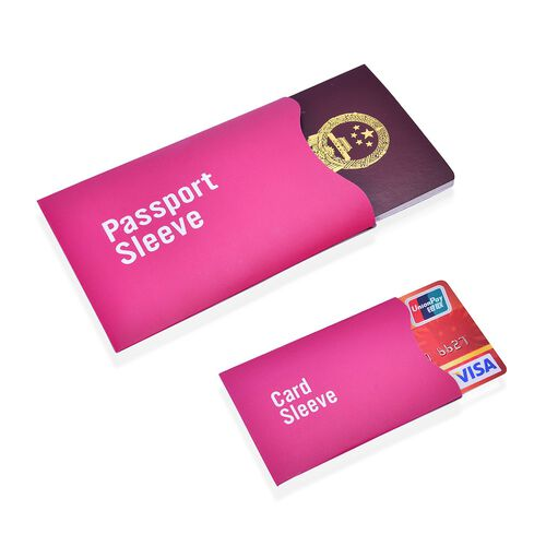 Set of 13 - Magenta Pink Colour One RFID Card (Size 14.5x11 Cm), Two Passport (Size 13.5x9.8 Cm) and Ten Credit Card (Size 8.8x5.6 Cm) Sleeves